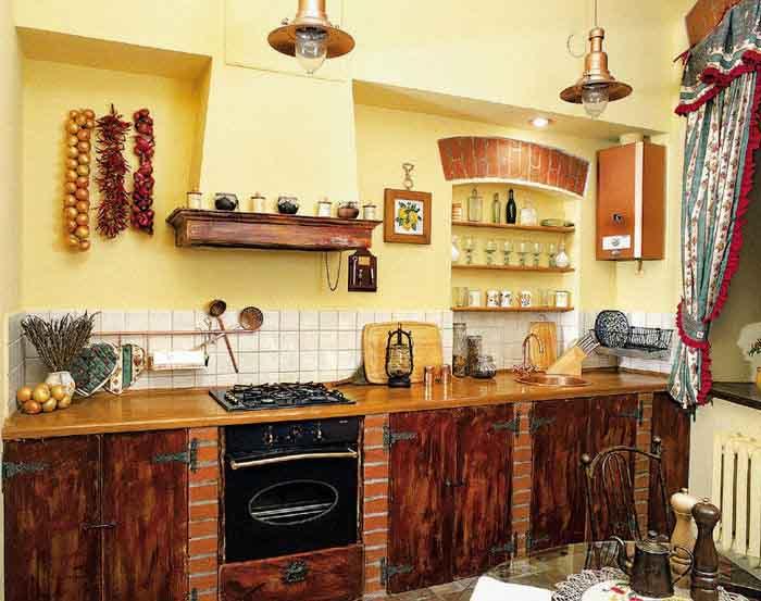 Сочетание экологических материалов на кухне